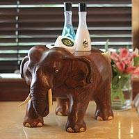 Wood stand, 'Thai Elephant' - Hand Carved Wood Stand
