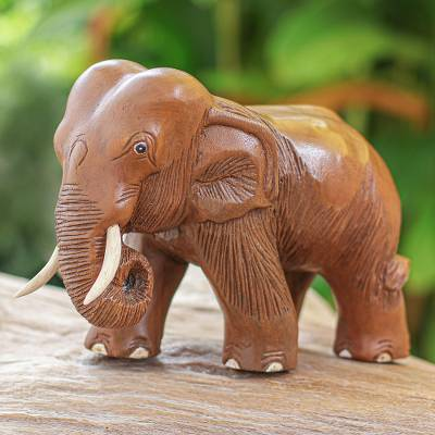 Wood sculpture, 'Majestic Elephant' - Rain Tree Wood Sculpture from Thailand