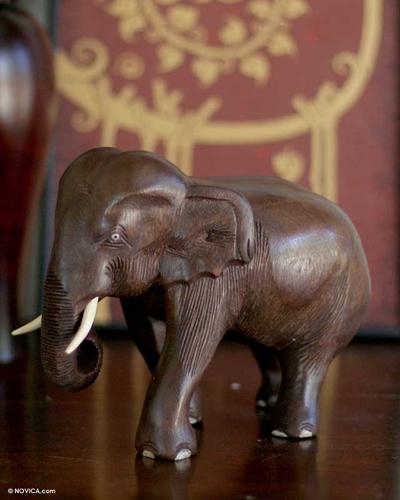 Original Wood Elephant Sculpture