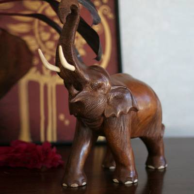 Wood sculpture, 'Elephant Joy' - Handcrafted Wood Sculpture