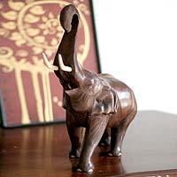 Wood sculpture, 'Trumpeting Elephant'