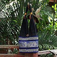 Cotton handbag, 'Elephant Blues'