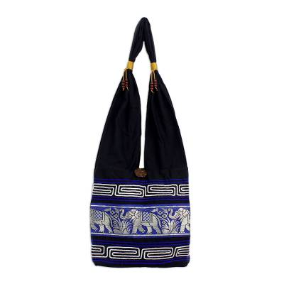 Cotton handbag, 'Elephant Blues' - Thai Cotton Shoulder Bag