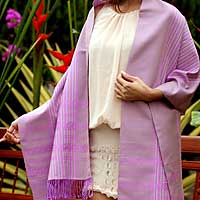 Cotton shawl, 'Lavender Symphony' - Cotton Shawl from Thailand