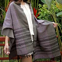 Cotton shawl, 'Earth Symphony' - Handcrafted Thai Cotton Shawl