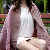 Cotton shawl, 'Rosewood Symphony' - Cotton shawl