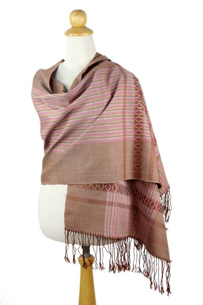 Handcrafted Pink Brown Cotton Patterned Shawl from NOVICA