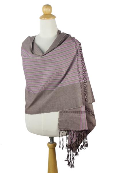 Handmade Grey Pink Patterned Cotton Shawl with Fringe
