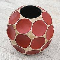Wood vase, 'Crimson Soccer Ball' - Round Red Hand Carved Mango Wood Vase from Thailand