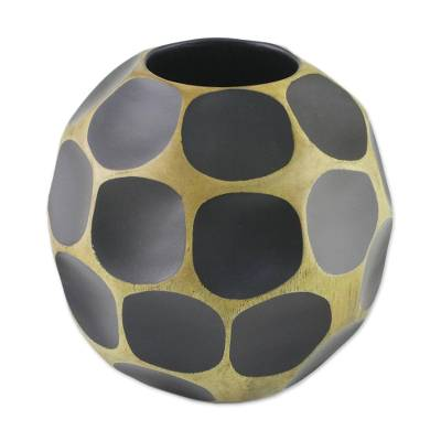 Mango wood vase, 'Black Soccer Ball' - Fair Trade Modern Mango Wood Vase