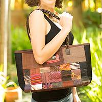 Leather and cotton shoulder bag, 'Autumn Heart' - Hill Tribe Patchwork Art Shoulder Bag
