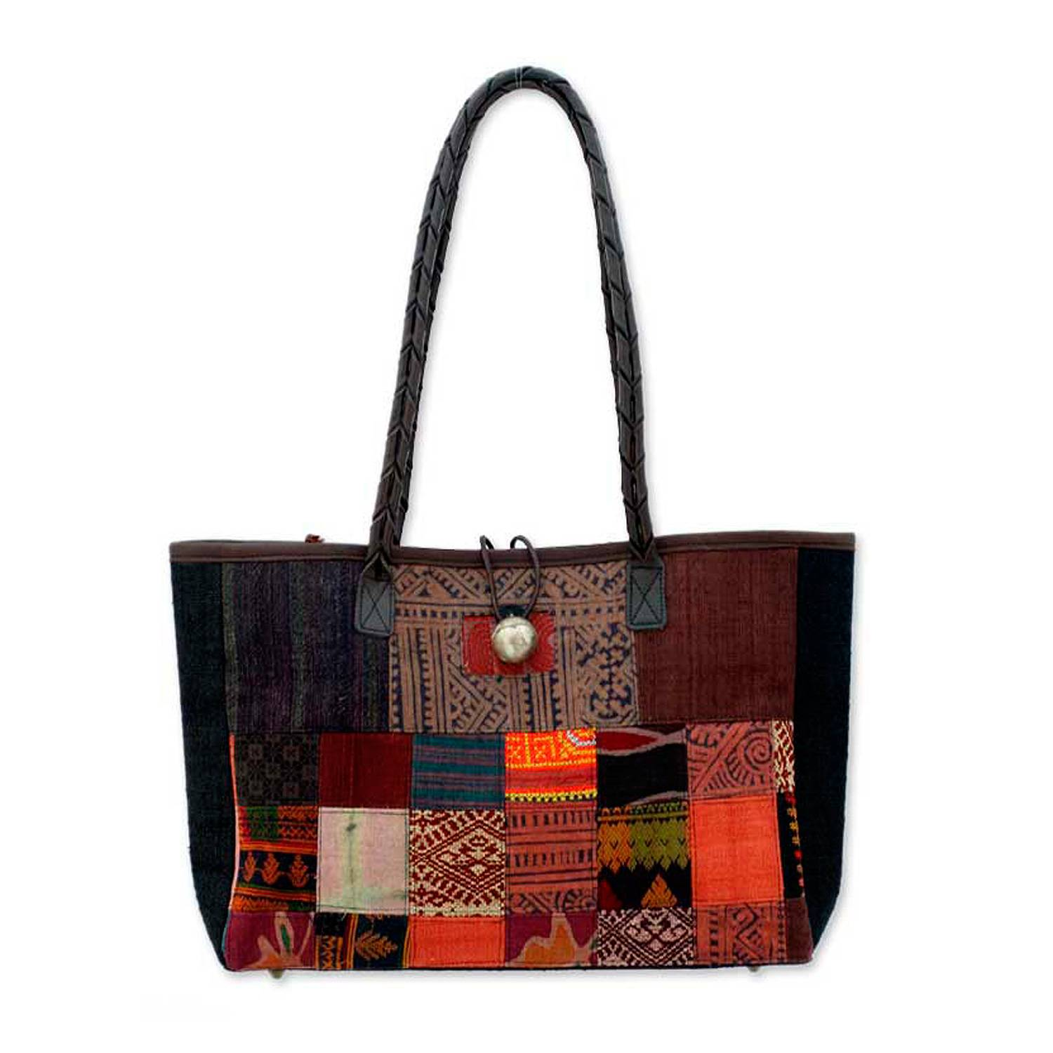 Novica Leather and cotton shoulder bag, Autumn Heart - Hill Tribe Patchwork Art Shoulder Bag