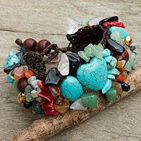 Multi-gem beaded bracelet, 'Festive Heart'
