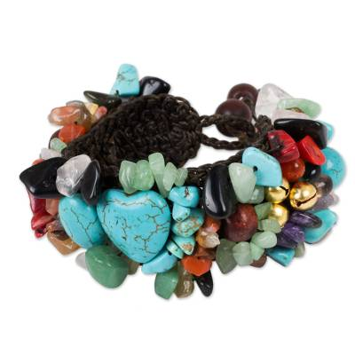 Multi-gem beaded bracelet, 'Festive Heart' - Beaded Multigem Bracelet