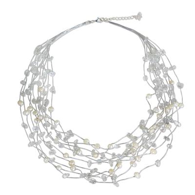 Handmade Bridal Beaded Quartz and Pearl Necklace