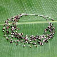 Pearl and tourmaline strand necklace, 'Cascade' - Unique Gemstone Beaded Necklace from Thailand