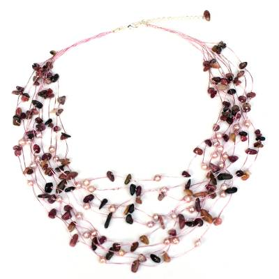 Beaded Tourmaline and Pearl Necklace