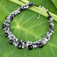 Black agate and rutile quartz beaded necklace, 'Gush' - Agate and Quartz Beaded Necklace