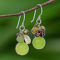 Pearl and peridot cluster earrings, 'Freshness' - Hand Crafted Beaded Multigem Earrings