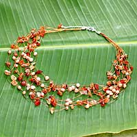 Pearl and carnelian beaded necklace, 'Warm Shower' - Unique Pearl and Carnelian Necklace from Thailand
