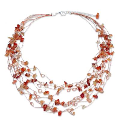 Beaded Pearl and Carnelian Necklace