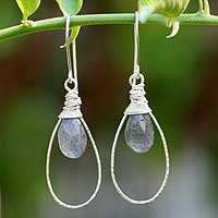 Labradorite dangle earrings, 'Luminous' - Silver and Labradorite Dangle Earrings