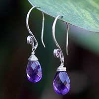 Amethyst dangle earrings, 'Subtle' - Hand Made Thai Silver and Amethyst Dangle Earrings