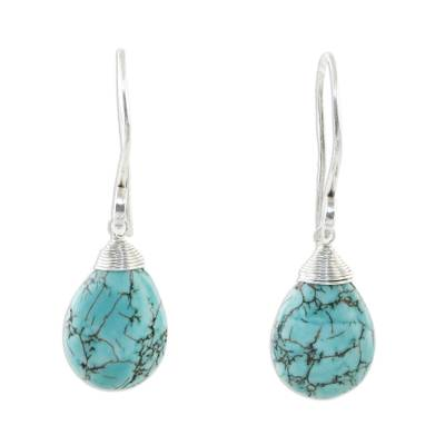 Silver dangle earrings, 'Subtle' - Reconstituted Turquoise and Silver Dangle Earrings
