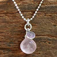 Rose quartz pendant necklace, 'Subtle' - Unique Sterling Silver and Rose Quartz Necklace
