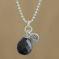 Onyx pendant necklace, 'Subtle' - Sterling Silver and Onyx Pendant Necklace