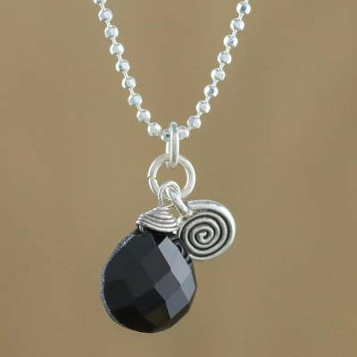 Onyx pendant necklace, 'Subtle' - Sterling Silver and Onyx Pendant Necklace