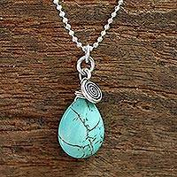 Silver pendant necklace, 'Subtle' - Silver and Reconstituted Turquoise Pendant Necklace