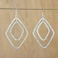 Silver dangle earrings, 'Thai Allure' - Handcrafted Thai Hammered Silver Dangle Earrings