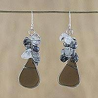 Pearl and quartz cluster earrings, 'Blossoming Night' - Pearl and Quartz Cluster Earrings