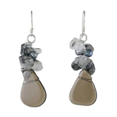 Pearl and Quartz Cluster Earrings