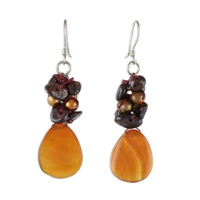 Artisan Pearl and Garnet Dangle Earrings from Thailand