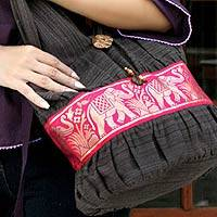 Cotton shoulder bag, 'Scarlet Thai' - Handmade Grey Cotton Shoulder Bag