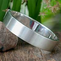 Sterling silver bangle bracelet, 'Moonbeams' - Sterling silver bangle bracelet