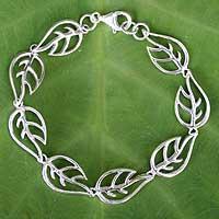 Sterling silver link bracelet, 'Vitality' - Sterling Silver Leaf Link Bracelet