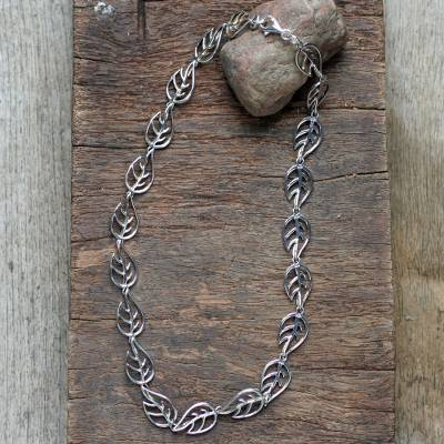 Sterling silver link necklace, 'Vitality' - Sterling Silver Leaf Necklace