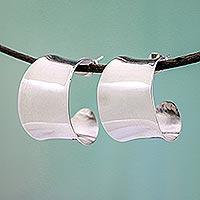 Sterling silver half hoop earrings, 'Camber' - Sterling silver half hoop earrings