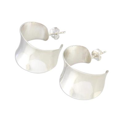 Sterling silver half hoop earrings