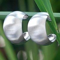 Sterling silver half hoop earrings, 'Satin Curves' - Sterling silver half hoop earrings