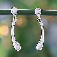 Sterling silver dangle earrings, 'Stream' - Hand Made Sterling Silver Dangle Earrings