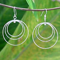 Sterling silver dangle earrings, 'Inner Circle' - Artisan Crafted Sterling Silver Dangle Earrings