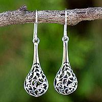 Sterling silver dangle earrings, 'Forest Fern'