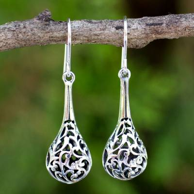 Sterling silver dangle earrings, 'Forest Fern' - Sterling Silver Dangle Earrings from Thailand