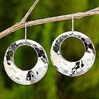 Sterling silver dangle earrings, 'Halo'