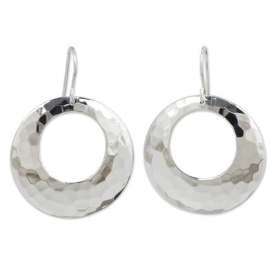 Sterling silver dangle earrings, 'Halo' - Sterling Silver Dangle Earrings