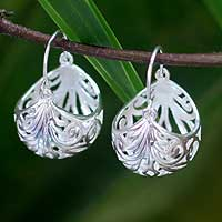 Sterling silver hoop earrings, 'Fern Basket' - Sterling Silver Hoop Earrings